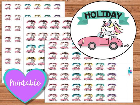 Uli Unicorn Holiday Stickers, printable planner stickers, erin condren, happy planner, instant download, kawaii, unicorns, holidays