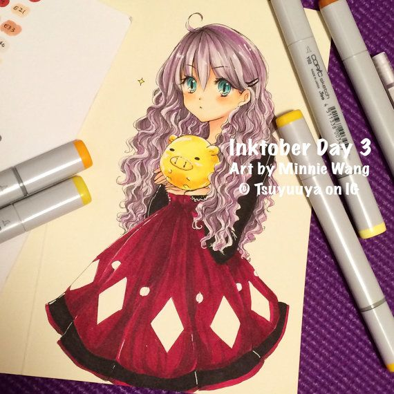 Original commission anime drawing full color copic by missrabbits