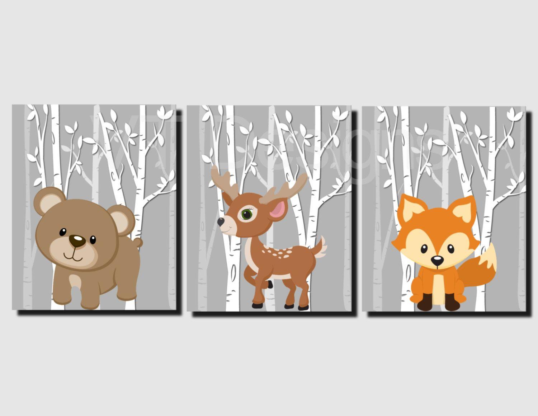 H2159 Boy woodland nursery print Boy wall art Boy nursery decor Woodland animal prints Nursery printable Woodland nursery decor