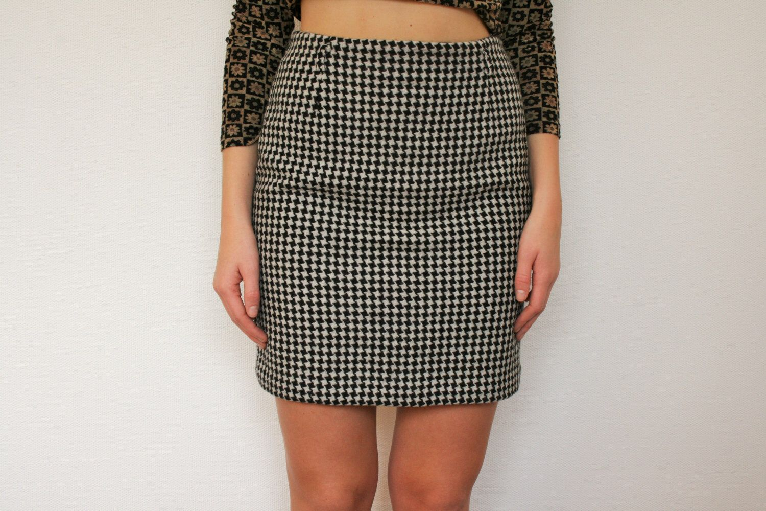 Black White Tartan Pencil skirt Plaid Skirt houndstooth Woolen ...