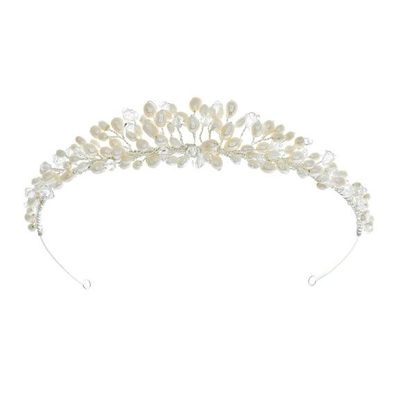 Freshwater pearl and crystal wedding tiara