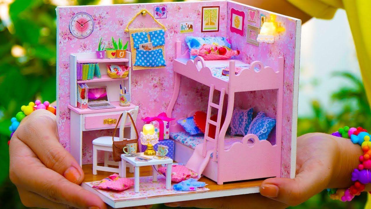 Diy Miniature Doll House Bunk Bed Bedroom Princess Style Barbie