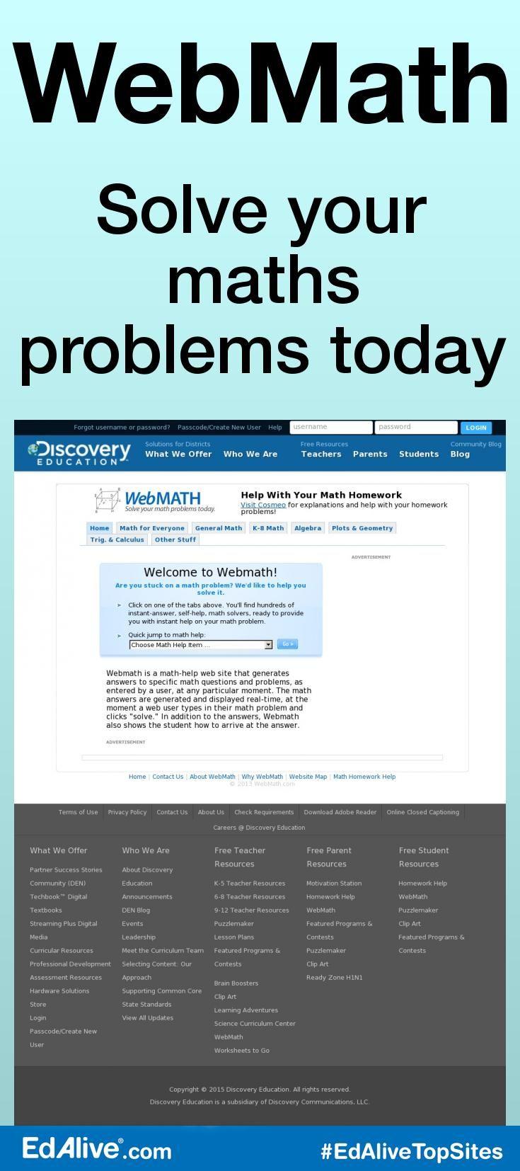 WebMath   Math, Maths and Mathematics   Pinterest   Math answers ...