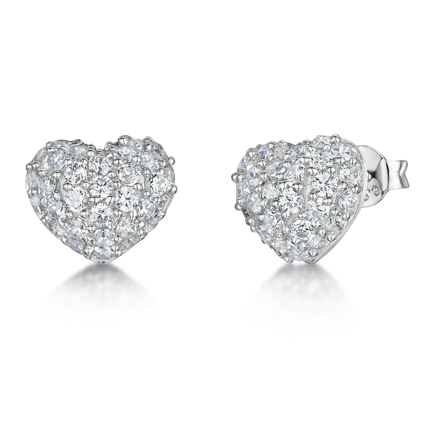 1c9a6fb98 Heart Stud Earrings Pave Set - CZ Stone | JOOLS By Jenny Brown - Jools By