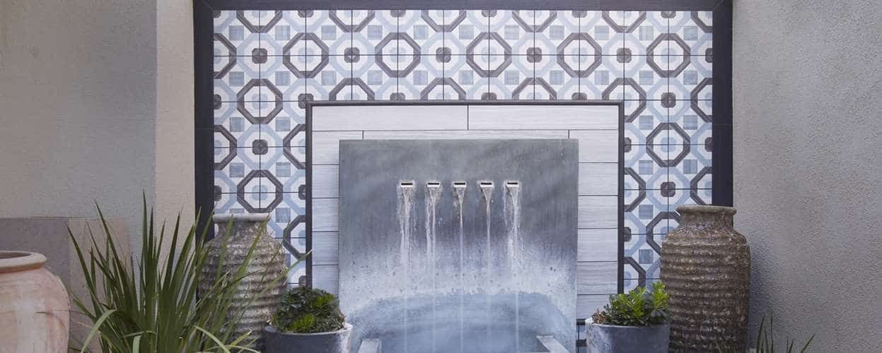 Cemetine Porcelain Deco Tile Wall Cladding Vertical Water