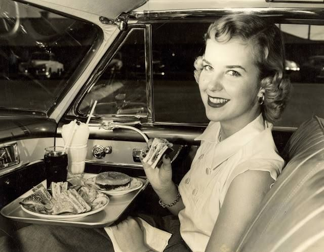 Hot Shoppes drive-in eating,  circa 1952