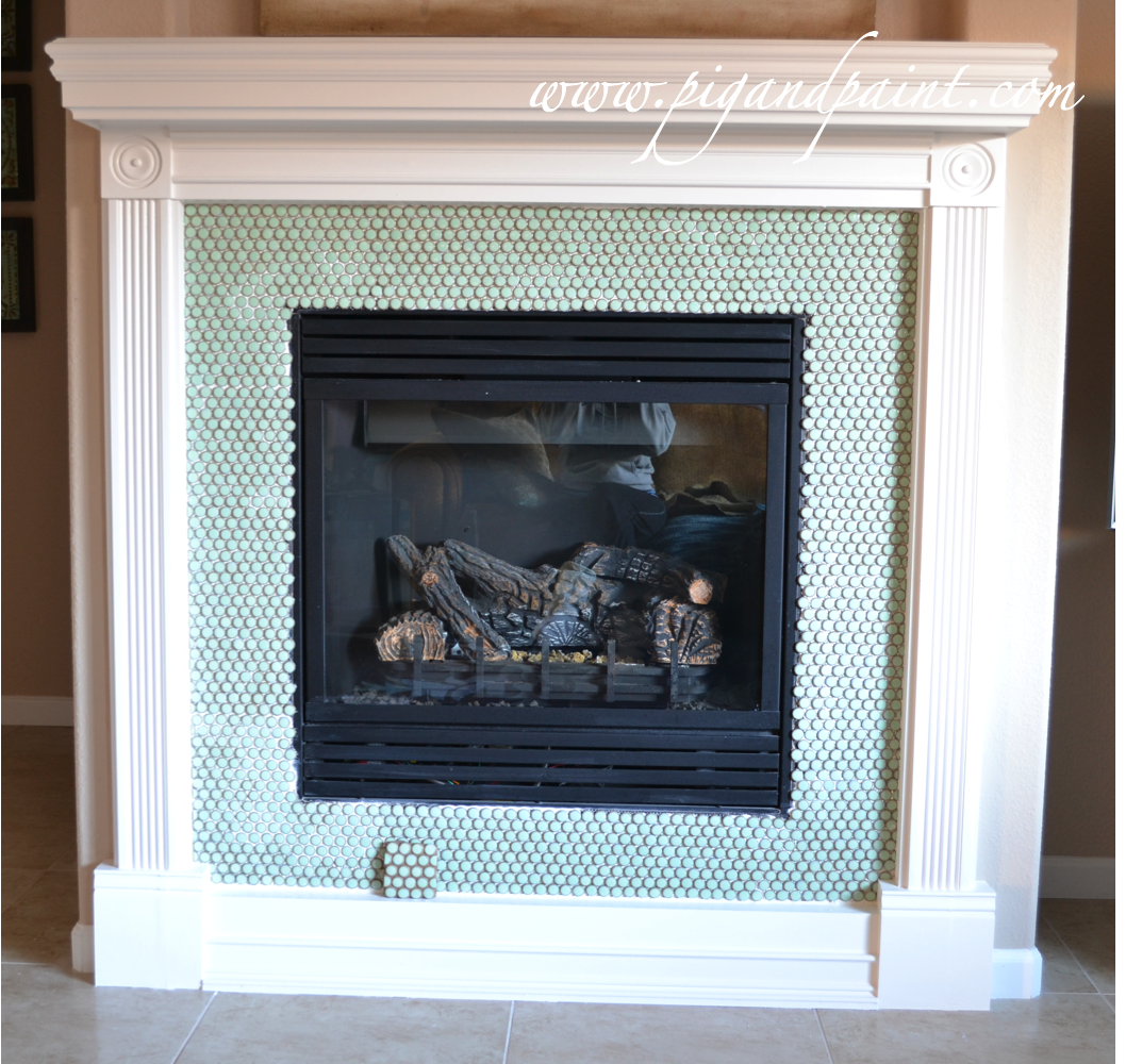 penny round tile fireplace - Google Search