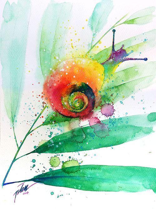 Snail Watercolor Painting A4 Art Print Vaszonra Keszult