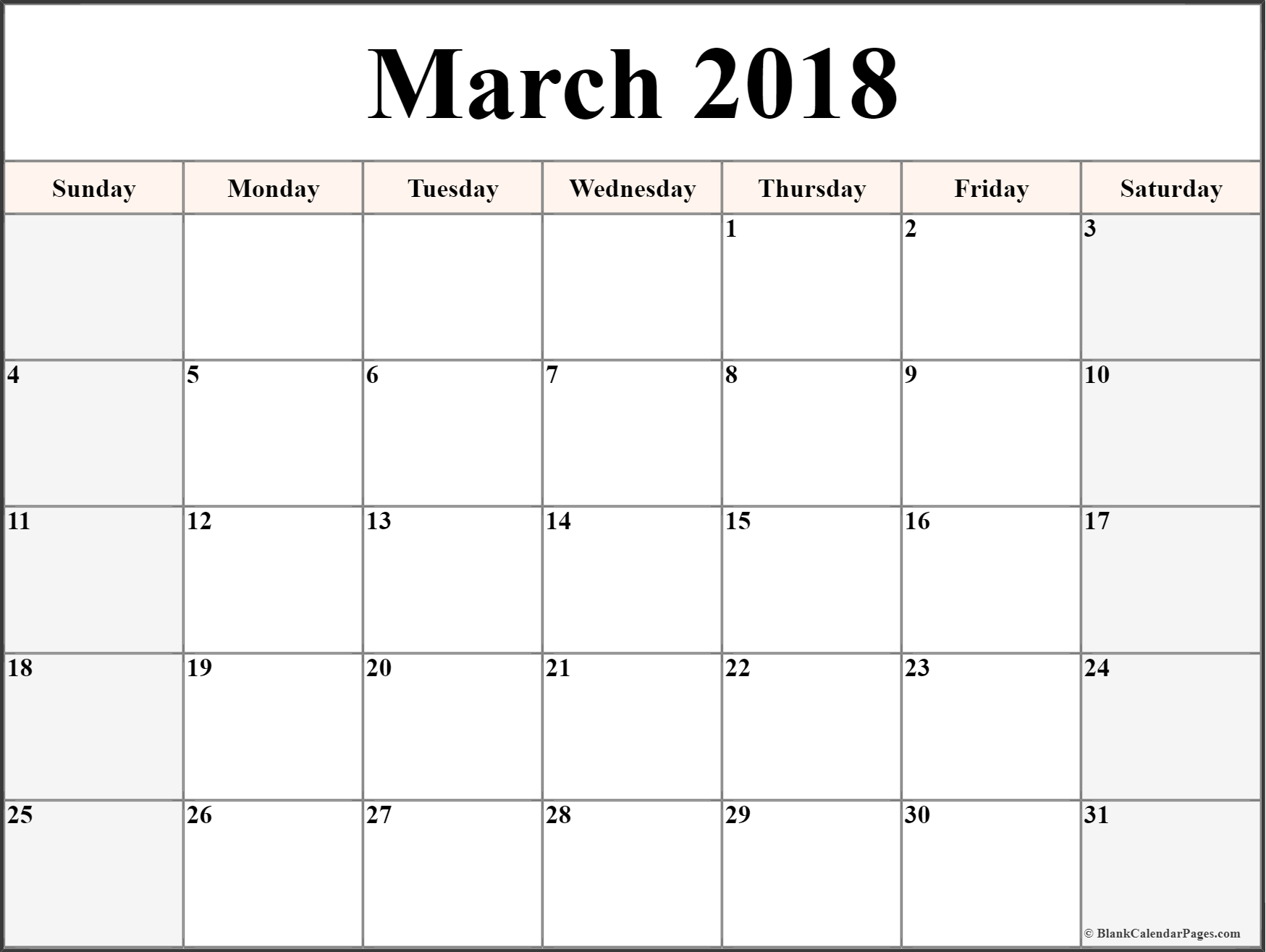 free printable calendars march 2018