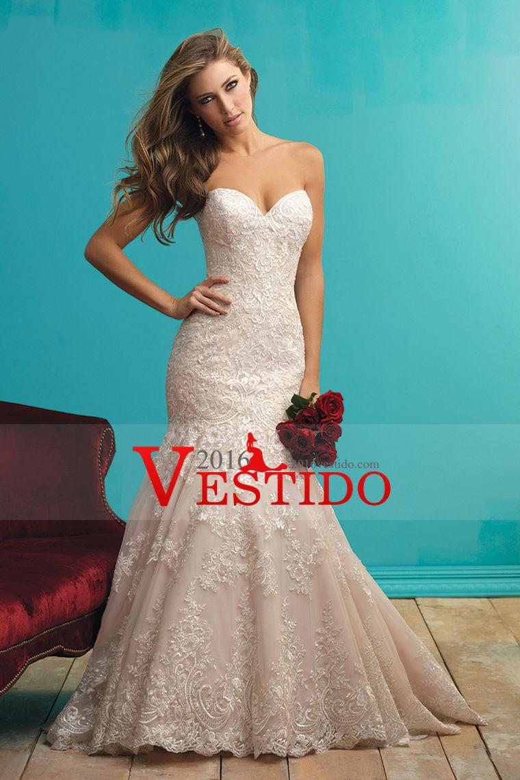 2016 vestidos de boda de Tulle del amor con apliques sirena tribunal ...
