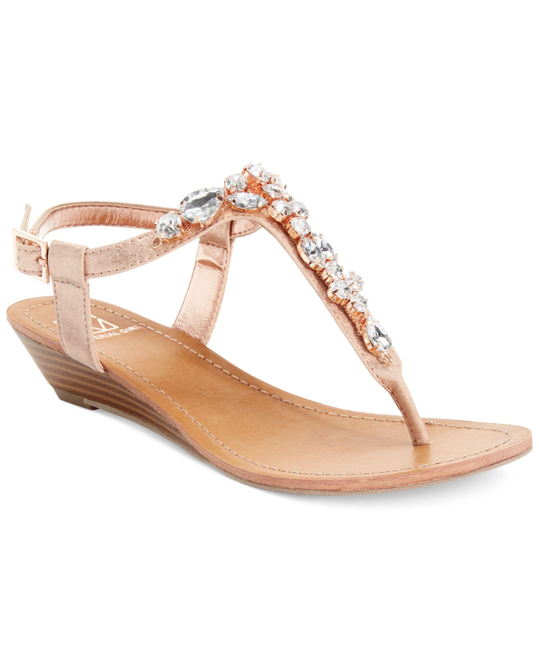 4681428bcf03 Material Girl Oslo Jeweled Demi Wedge Thong Sandals