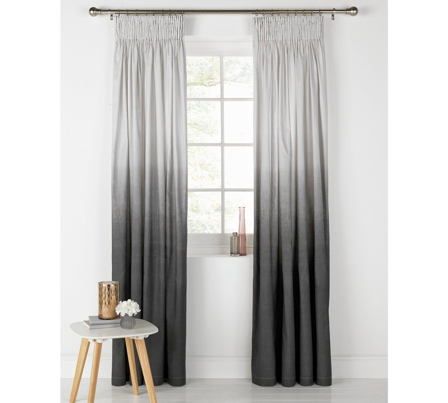 Buy HOME Ombre Unlined Pencil Pleat Curtains