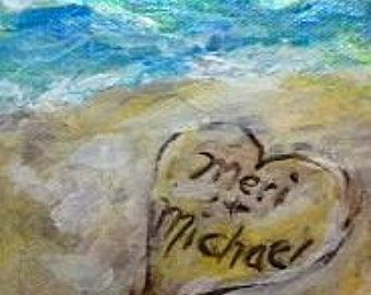 Custom Gift For Cathy Brian Wedding Hand Painted Seascape With The Bride And Grooms Names In Sand