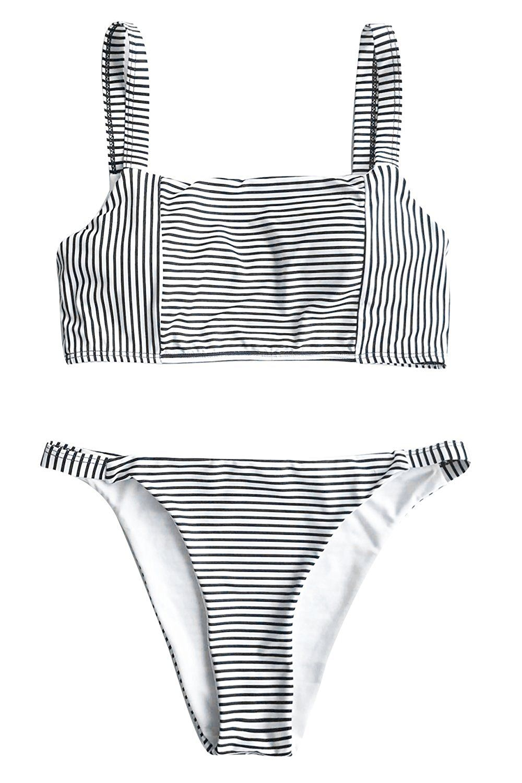 6f4d37e1cb Cupshe Fashion Women's Stripe Printing Tank Bikini Set Beach Swimwear  Bathing Suit at Amazon Women's Clothing store: