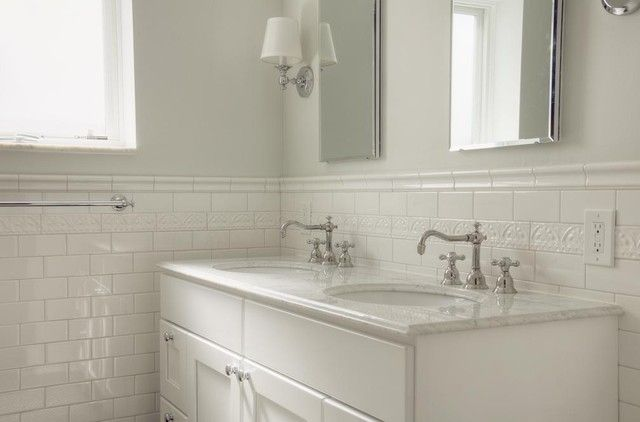 Bathroom Traditional White Subway Tile Bathroom With