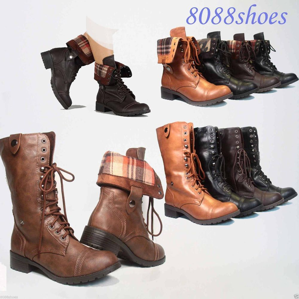 Soda Lace Up Low Heel Round Toe Foldable Military Combat Mid Calf ...