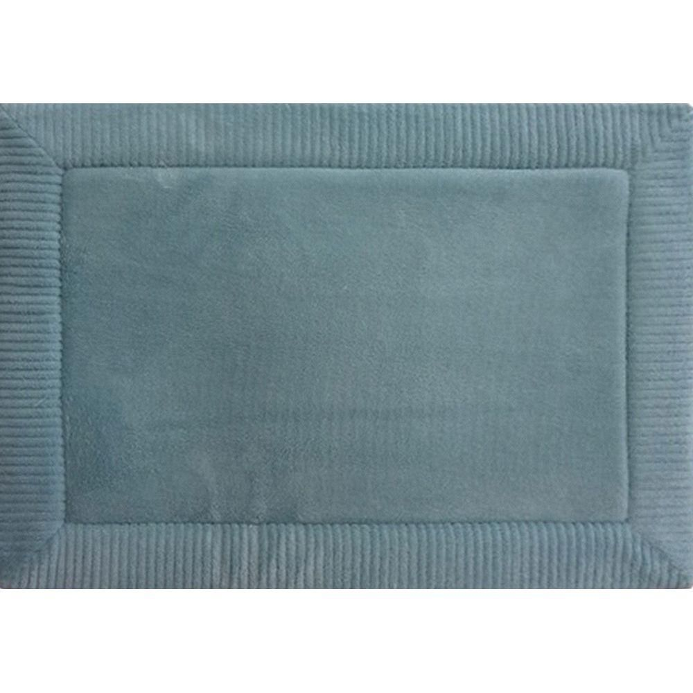 Spa Retreat Border Blue 21 In X 34 In Memory Foam Bath Mat