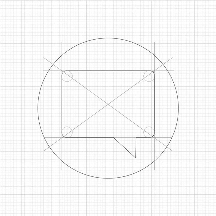 Original circle concept, initial sketch Icon design
