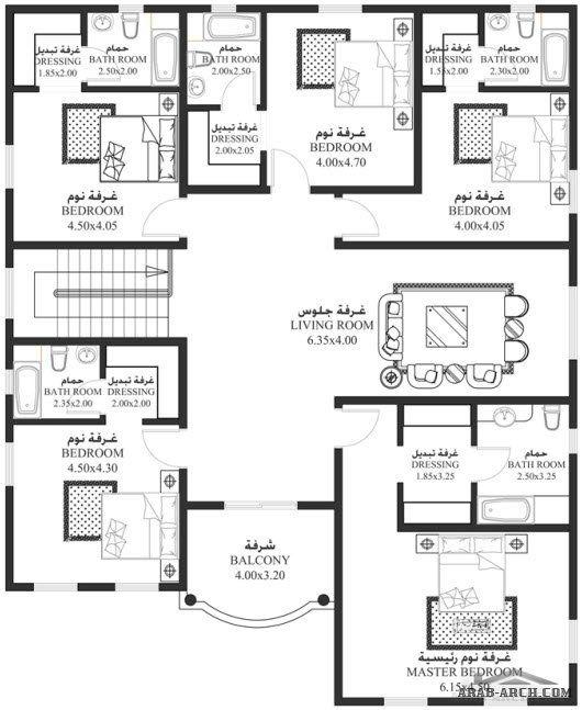 خرائط الفيلا 6 غرف نوم أبعاد المسكن 15 45م عرضx18 95م عمق سكن Ha 04 House Floor Design Single Storey House Plans Duplex House Plans