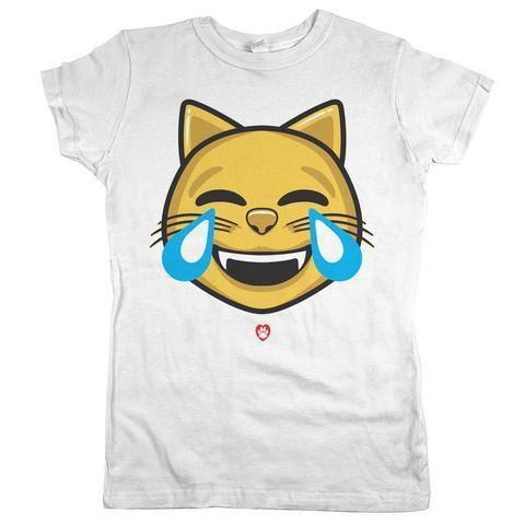 Laughing Cat Emoji Womens Jr Slim Fit Tee White Cat Emoji Laughing Cat Cat Shirts