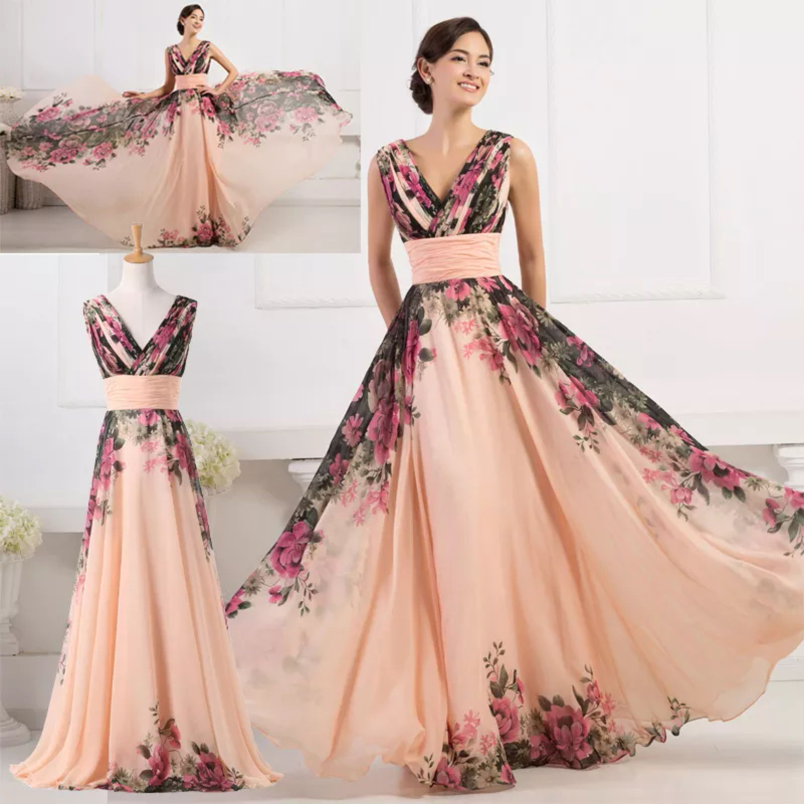 CHIFFON Long Maxi Bridesmaid Evening Formal Ball Gown Prom Party ...