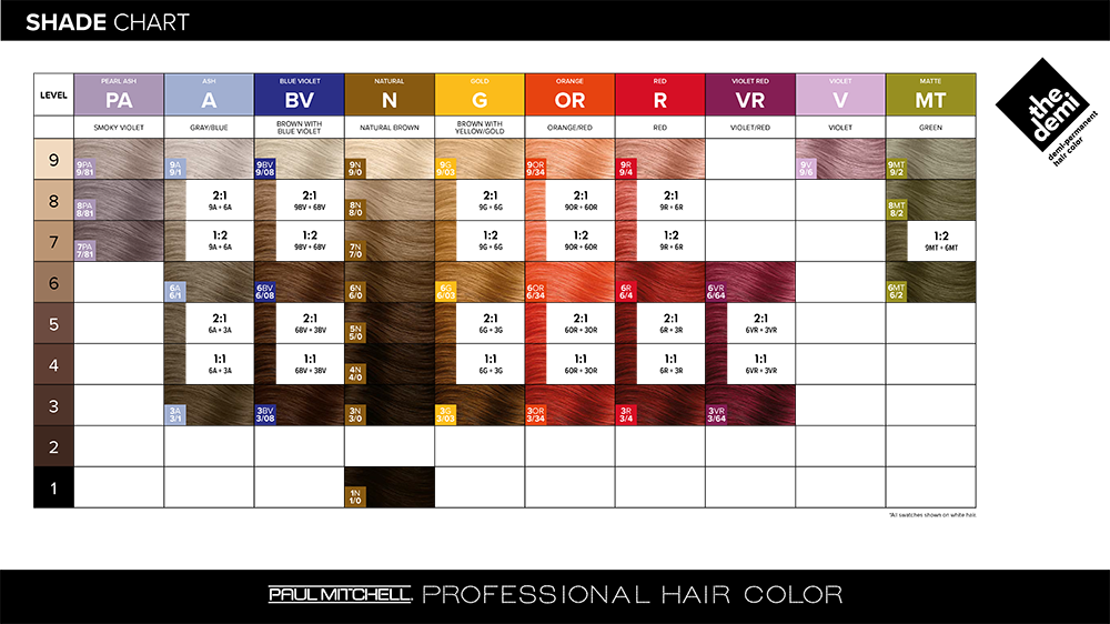 Paul Mitchell Professional Hair Color The Demi Swatch Chart