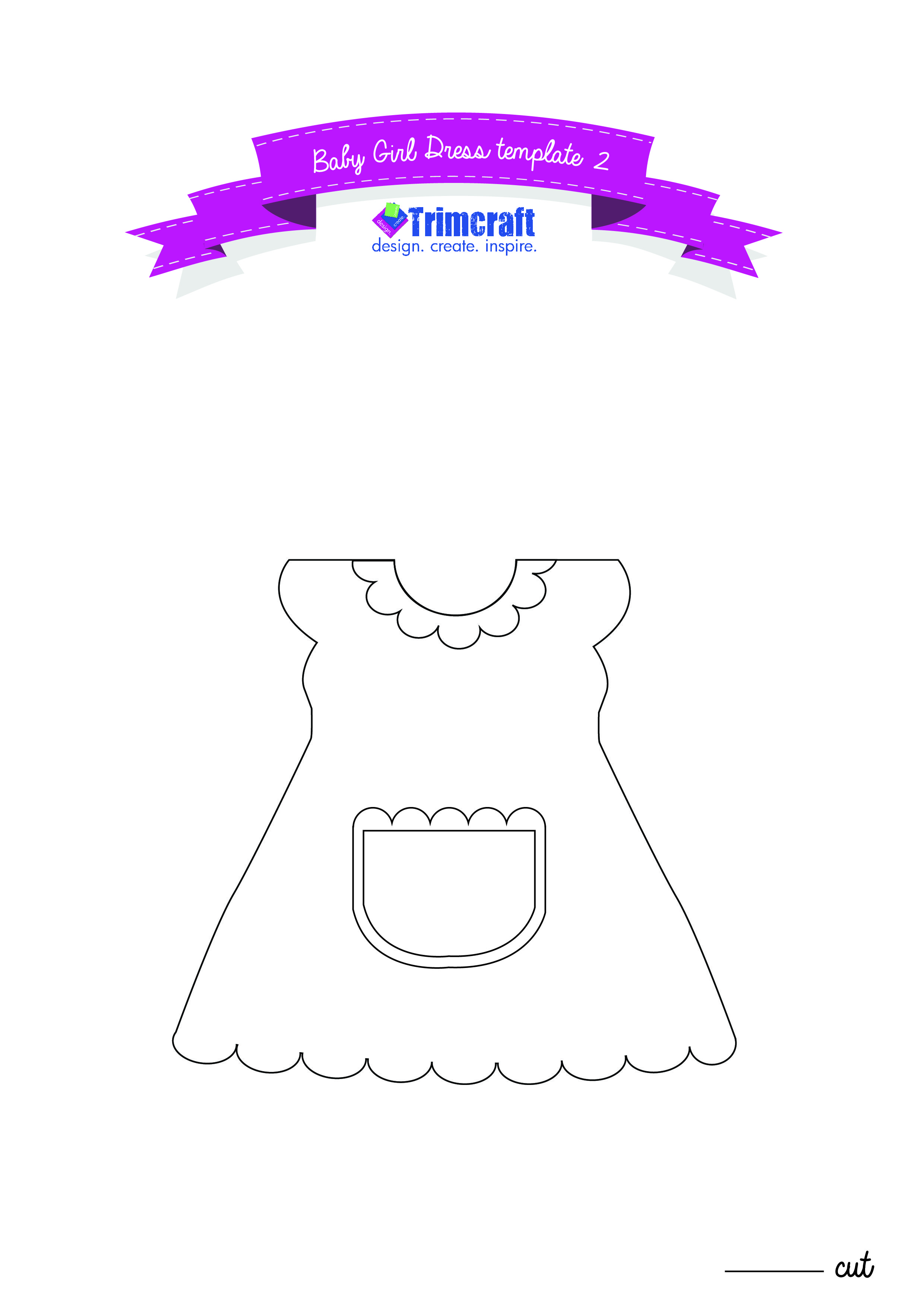 Apron For The Baby Girl Dress Shaped Card Tutorial With Free Craft Templates Template 2 Baby Template