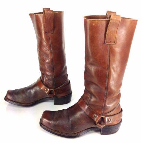 Mens Vintage Brown Leather Square Toe