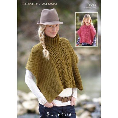 Cable Detail Poncho In Hayfield Bonus Aran With Wool 9683