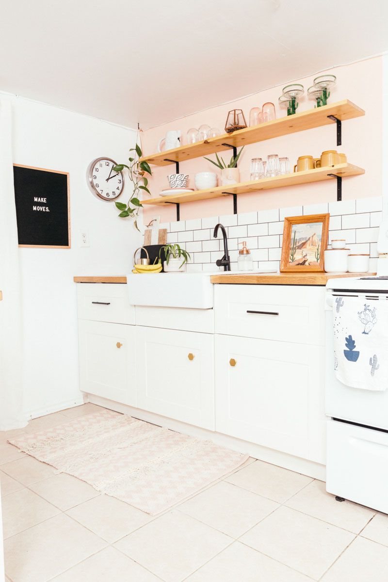 Before & After: A Toronto Rental\'s Peachy Kitchen Remodel | Pink ...