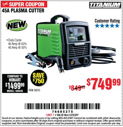Titanium 45a Plasma Cutter For 749 99 In 2020 Plasma Cutter Harbor Freight Tools Plasma