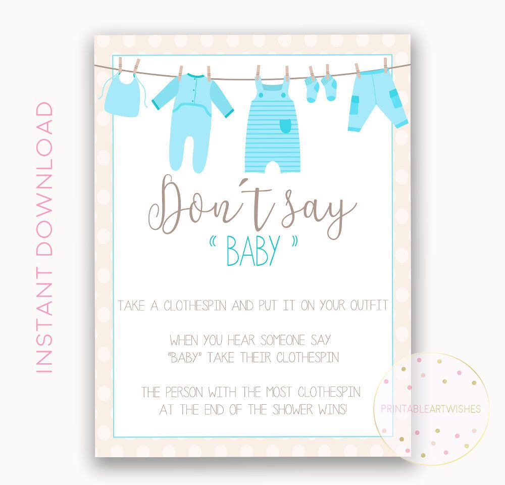 Baby Shower Clothes Pin Game Clothes Pin Game Sign Dont Say Baby Boy Baby Shower Clothespin
