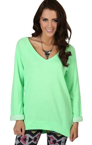 Long Sleeve Oversized French Terry Top in Neon