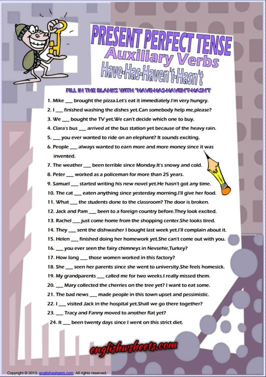 worksheet How Observant Are You Worksheet auxiliary verbs have has present perfect tense worksheet esl 2 worksheet