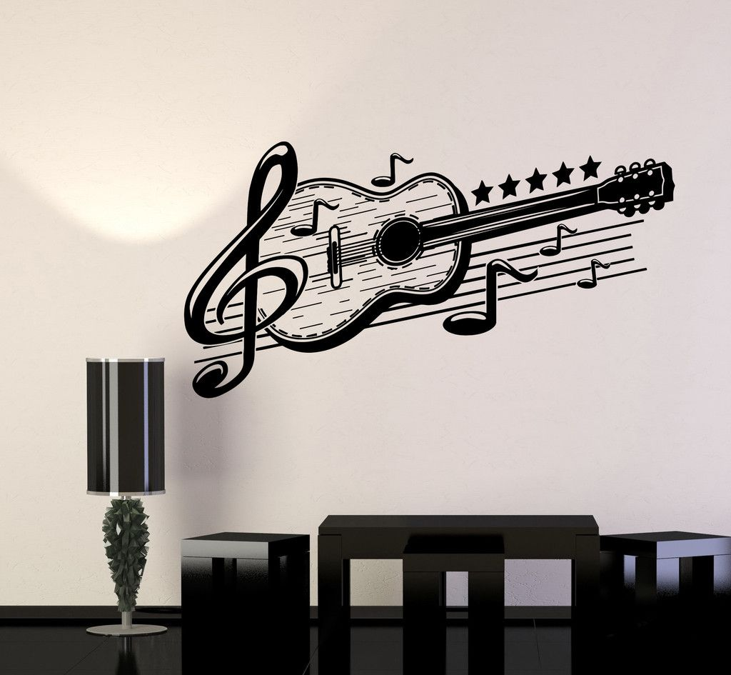 Wall Decorations Music : Vinyl wall decal guitar musical art music decor stickers