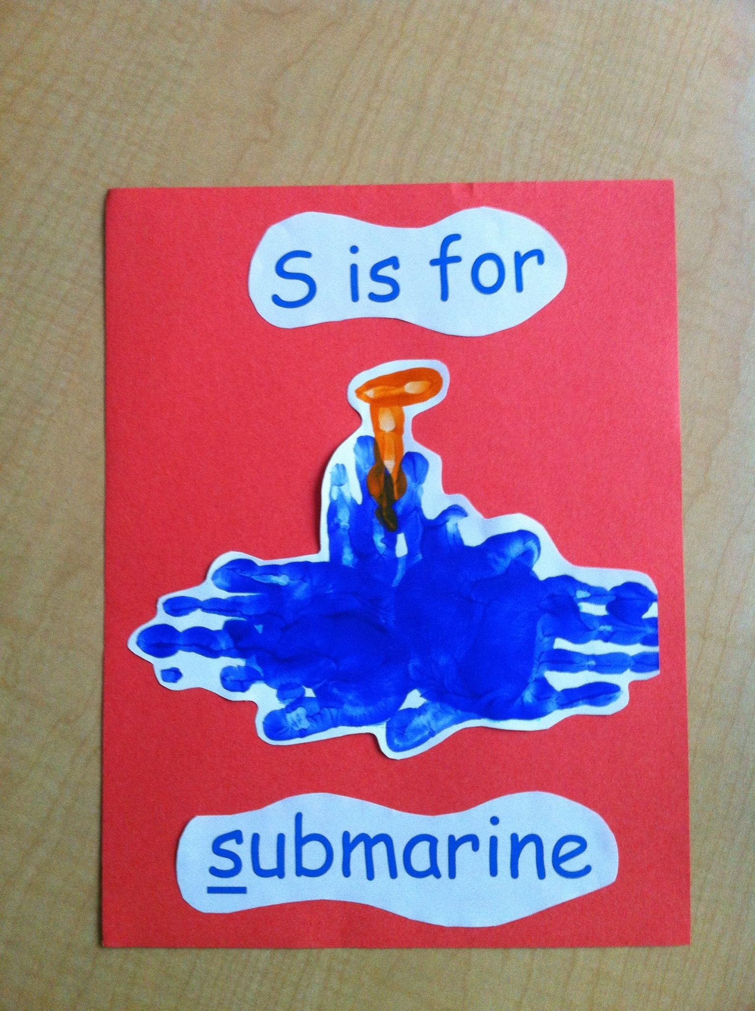 S is for submarine handprint pic | Letter S | Transportation Crafts, Transportation activities ...