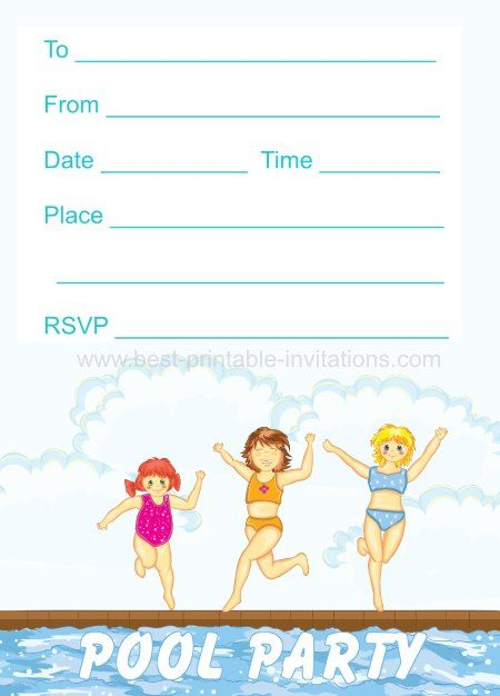 Girls Pool Party Invites Free printable kids party invites from – Pool Party Invitations Printable