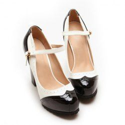 $26.93 Party Womens Spring Pumps With Vintage Style PU Leather and Color Matching Design