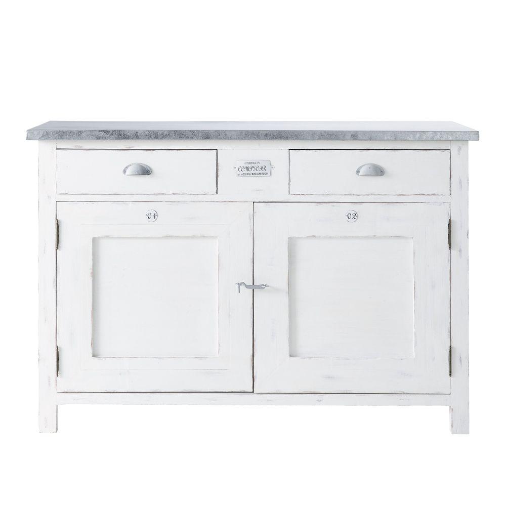 Maison Du Monde Credenze Bianche white wood 2-door 2-drawer sideboard | aparador blanco