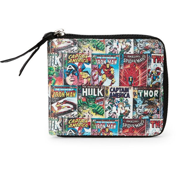 Marvel Comic Book Cover Zip-Around Wallet ($15) ❤ liked on Polyvore featuring bags, wallets, black, marvel wallet, leather bags, leather wallets, marvel bag and pattern bag