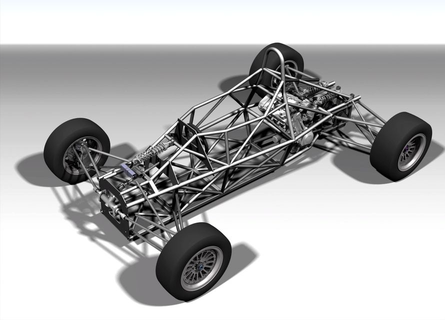Formula Car Full Chassis Step Iges Pro Engineer