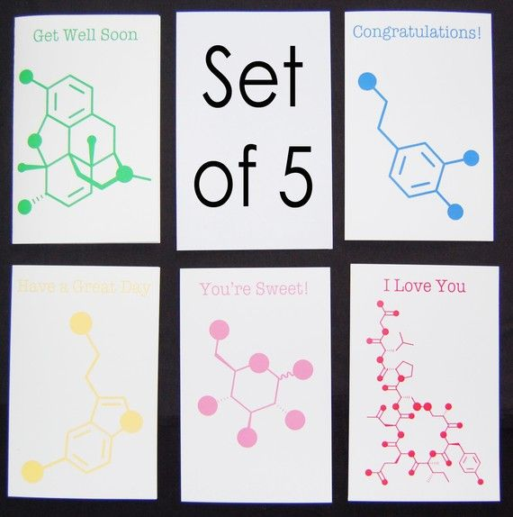Set of 5 Chemistry Nerd Greeting Cards - 5% Dis | Cardmaking ...