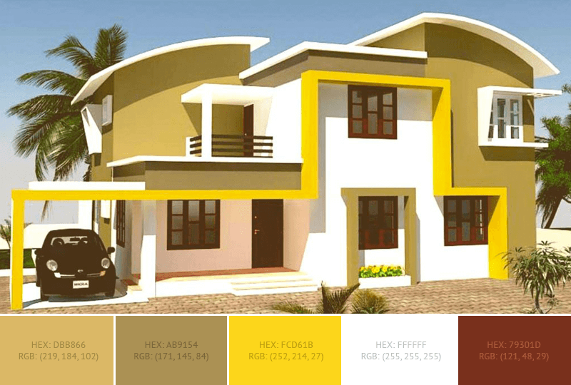 This Yellow House Exterior Has 3 Colors Combination With Vegas