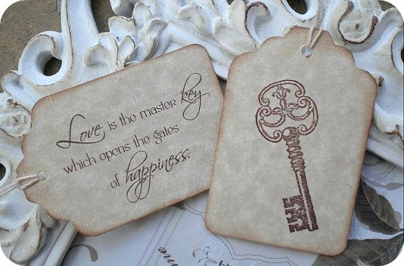 Love Quote Skeleton Key Bridal Wedding Favor Tags Vintage