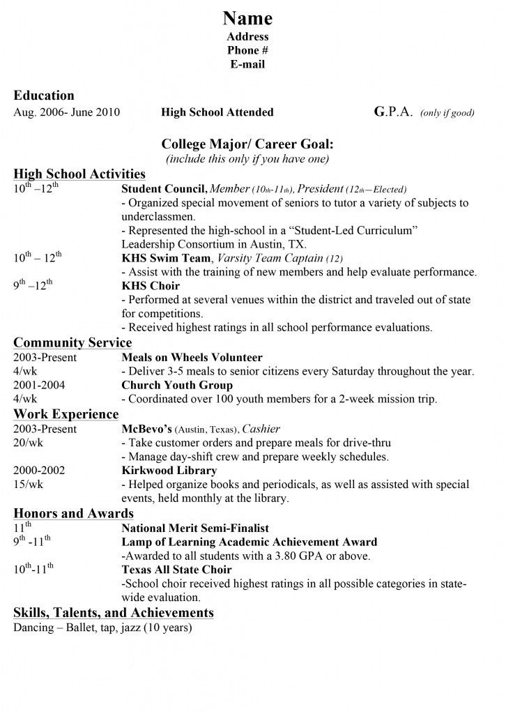 college application resume outline