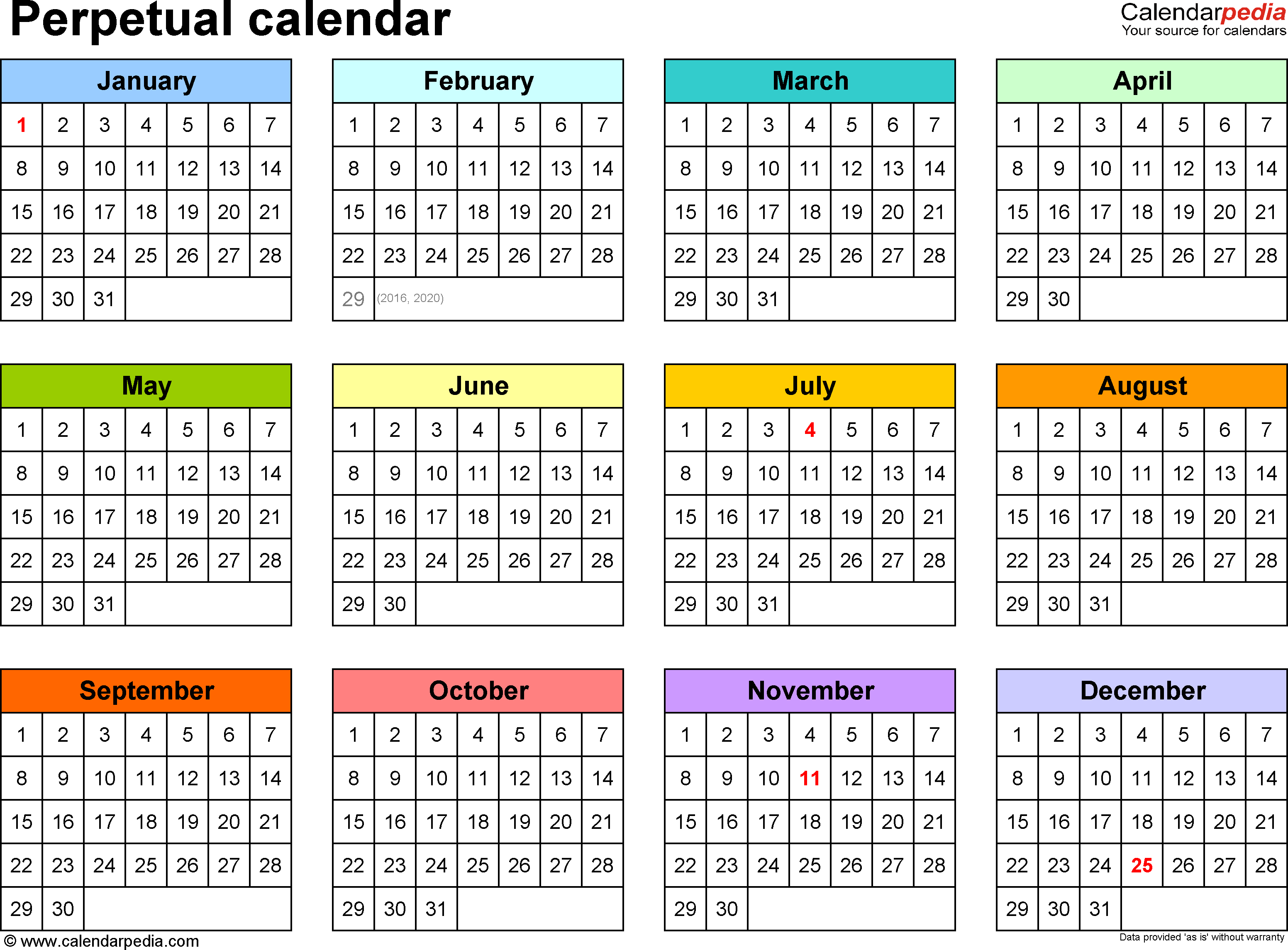 Template  Word Template For Perpetual Calendar Landscape