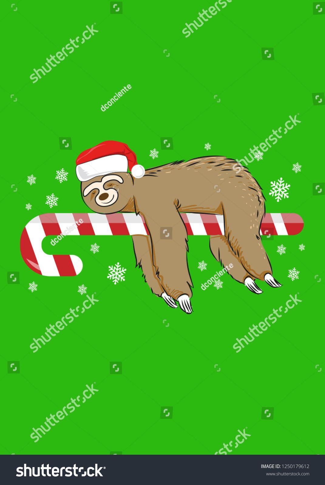 cute sloth sleeping christmas season animal vector