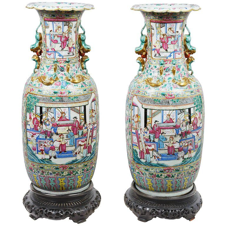 Large Pair Of 19th Century Canton Rose Medallion Vases 1860 From A Unique Collection Of Antique And Modern Vases And Vess Antique Vase Vase Vases For Sale