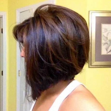 Stacked Hairstyles For Medium Length Hair Hair Styles Dark Brunette Hair Thick Hair Styles