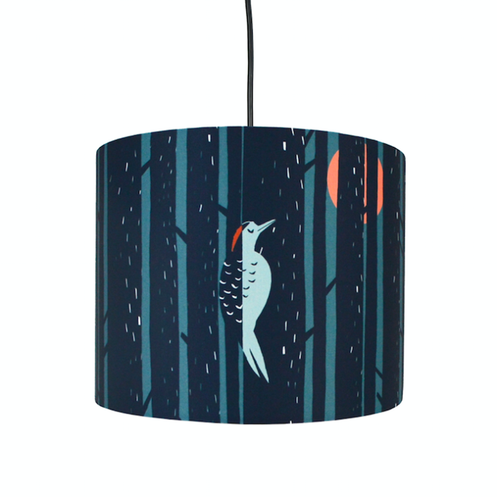 Woodpecker Scandinavian Design Lampshade The Maker Place Beautifully Made Scandinavian Style Lampshades Are A Great Way To Lamp Shade Blue Tree Orange Moon